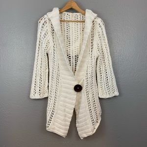 Free People White Crochet Knit Hooded Cardigan